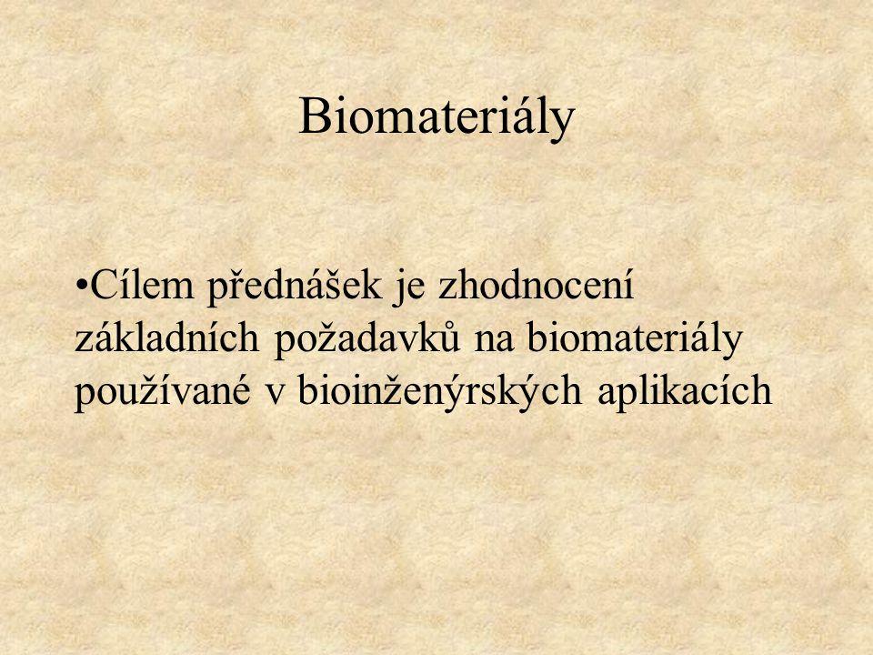 Biomateriály Cílem přednášek je zhodnocení základních požadavků na biomateriály používané v bioinženýrských aplikacích.