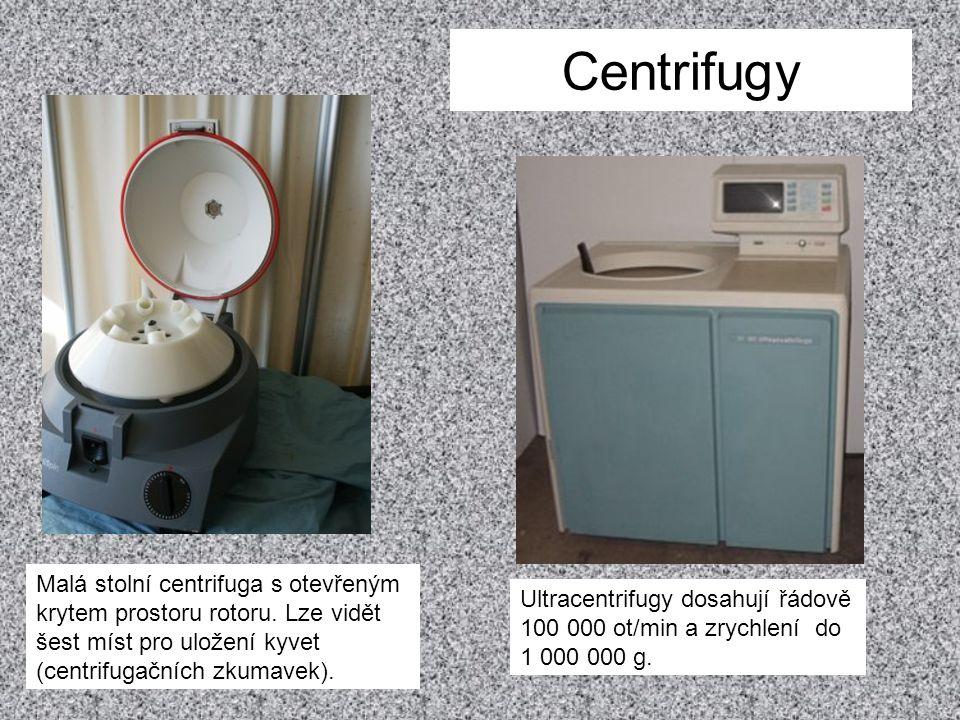 Centrifugy Malá stolní centrifuga s otevřeným krytem prostoru rotoru. Lze vidět šest míst pro uložení kyvet (centrifugačních zkumavek).