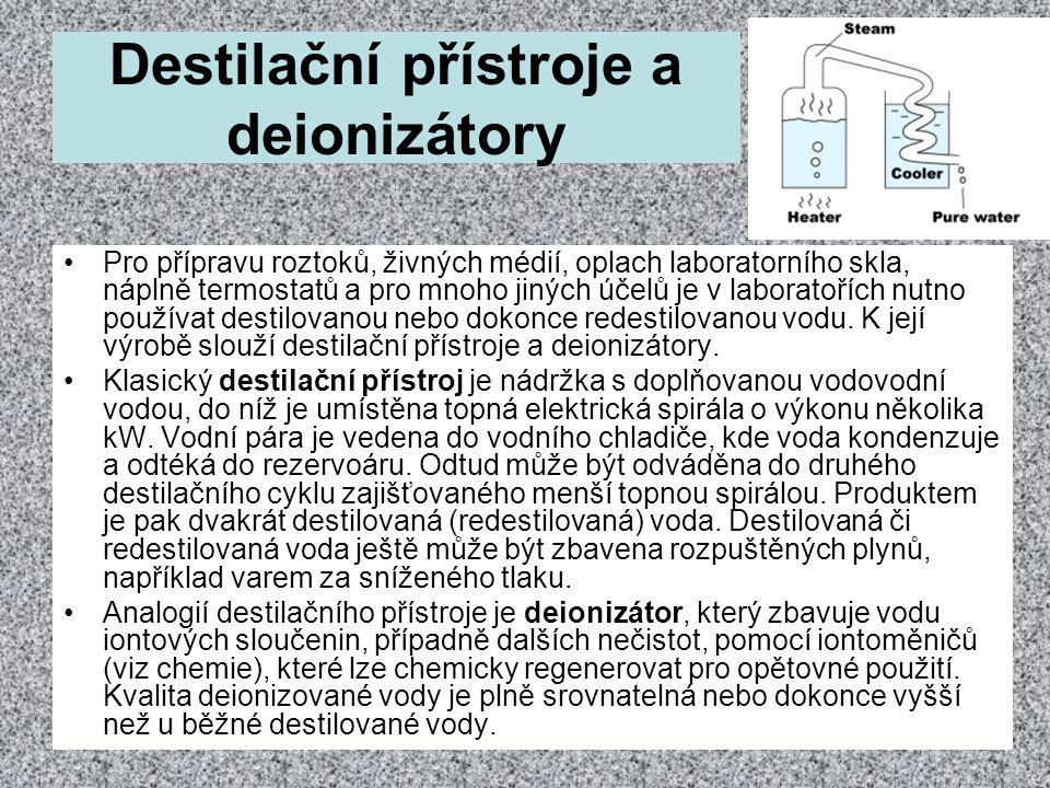 Destilační přístroje a deionizátory