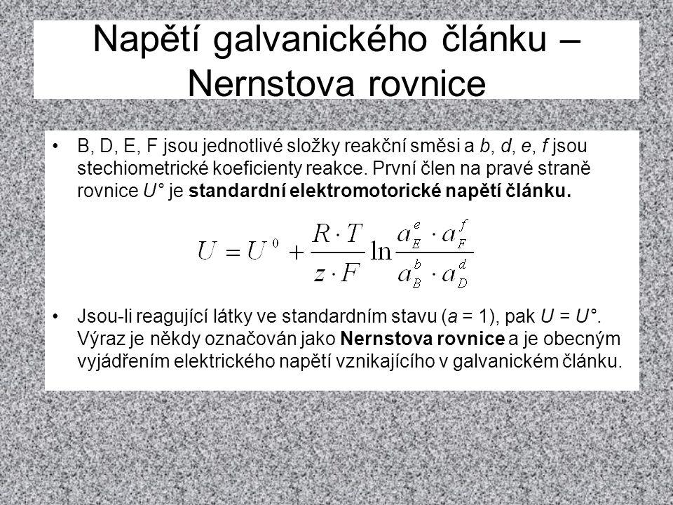 Napětí galvanického článku – Nernstova rovnice