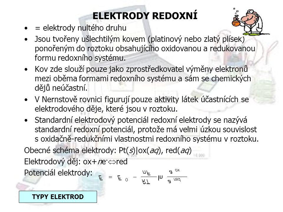 ELEKTRODY REDOXNÍ = elektrody nultého druhu