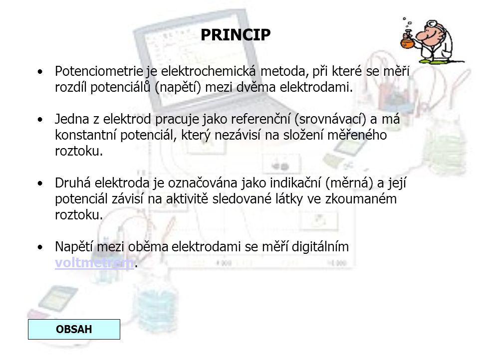 PRINCIP Potenciometrie je elektrochemická metoda, při které se měří rozdíl potenciálů (napětí) mezi dvěma elektrodami.