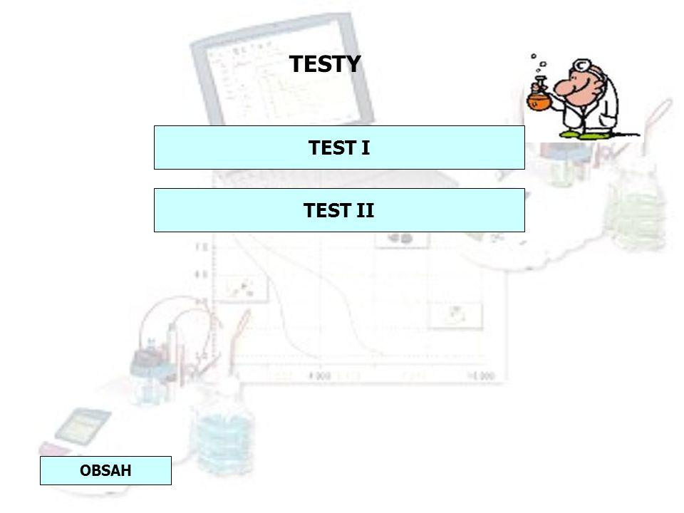 TESTY TEST I TEST II OBSAH