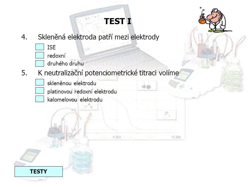 TEST I Skleněná elektroda patří mezi elektrody ISE