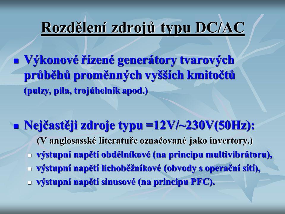 Rozdělení zdrojů typu DC/AC