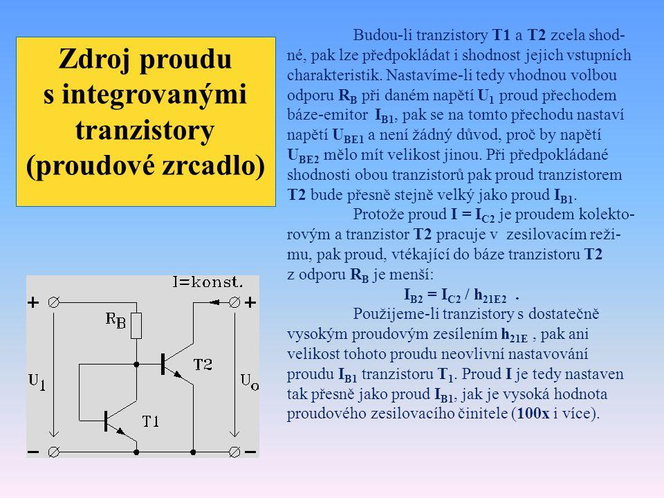 Zdroj proudu s integrovanými tranzistory (proudové zrcadlo)