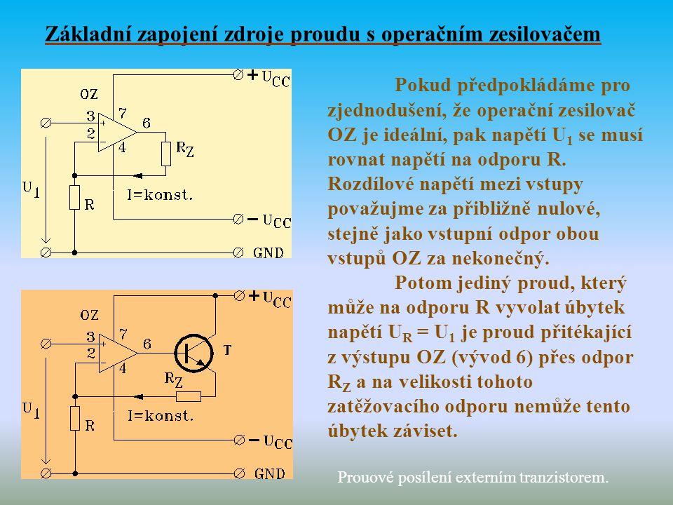 Základní zapojení zdroje proudu s operačním zesilovačem