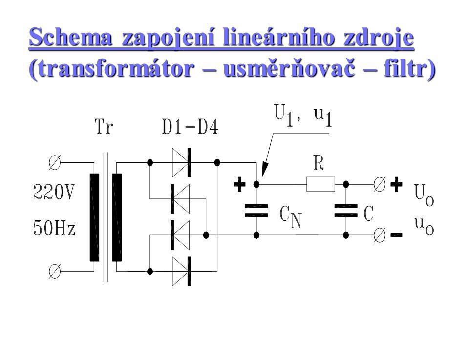 Schema zapojení lineárního zdroje (transformátor – usměrňovač – filtr)