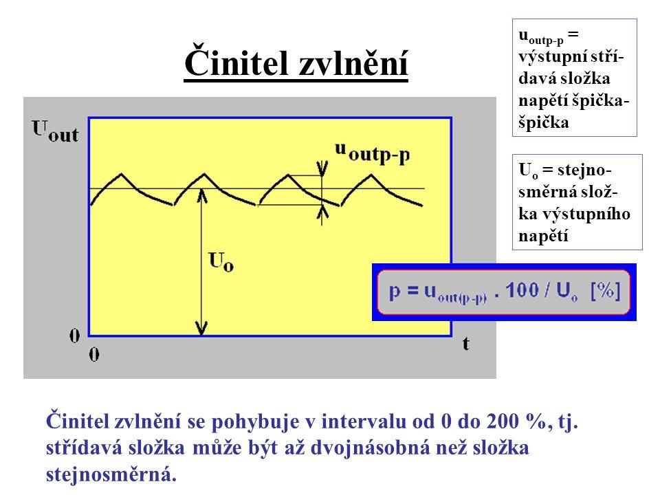 Činitel zvlnění uoutp-p = výstupní stří-davá složka napětí špička-špička. Uo = stejno-směrná slož-ka výstupního napětí.