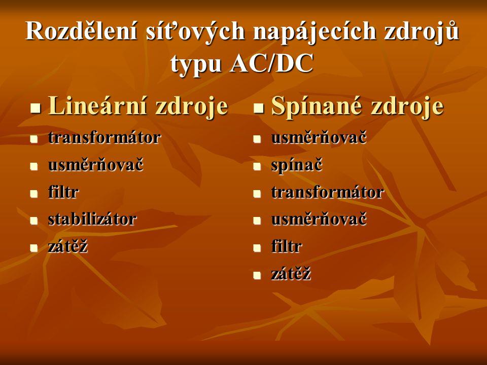Rozdělení síťových napájecích zdrojů typu AC/DC