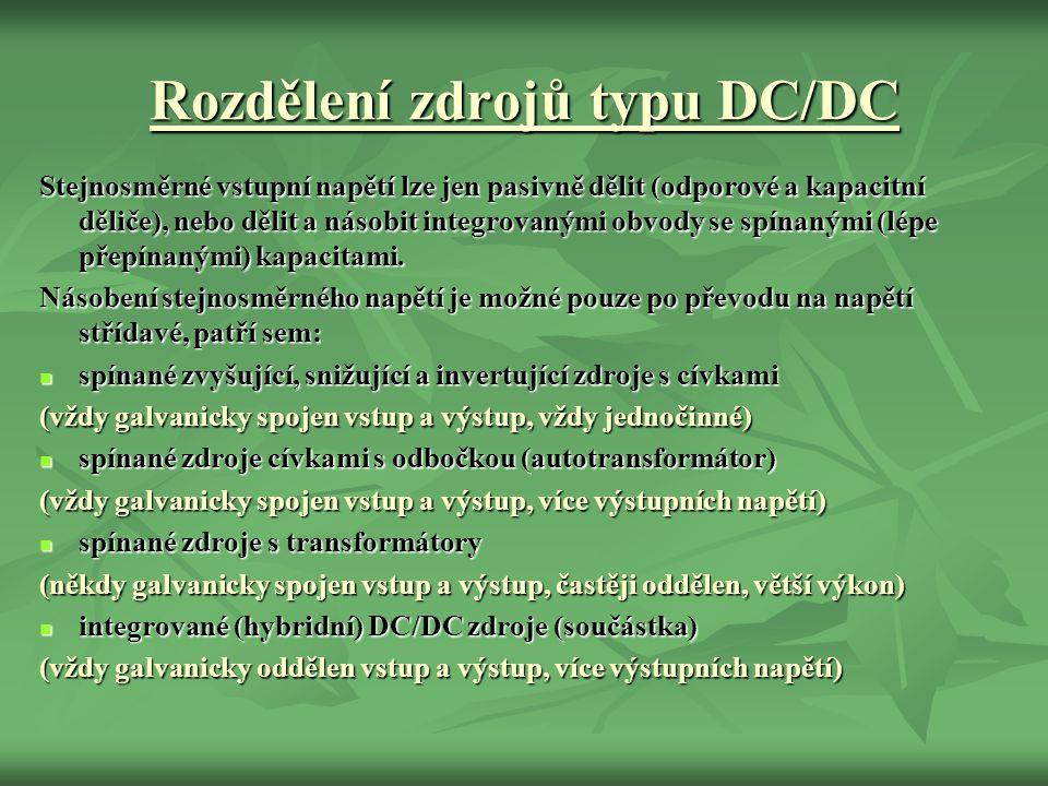 Rozdělení zdrojů typu DC/DC