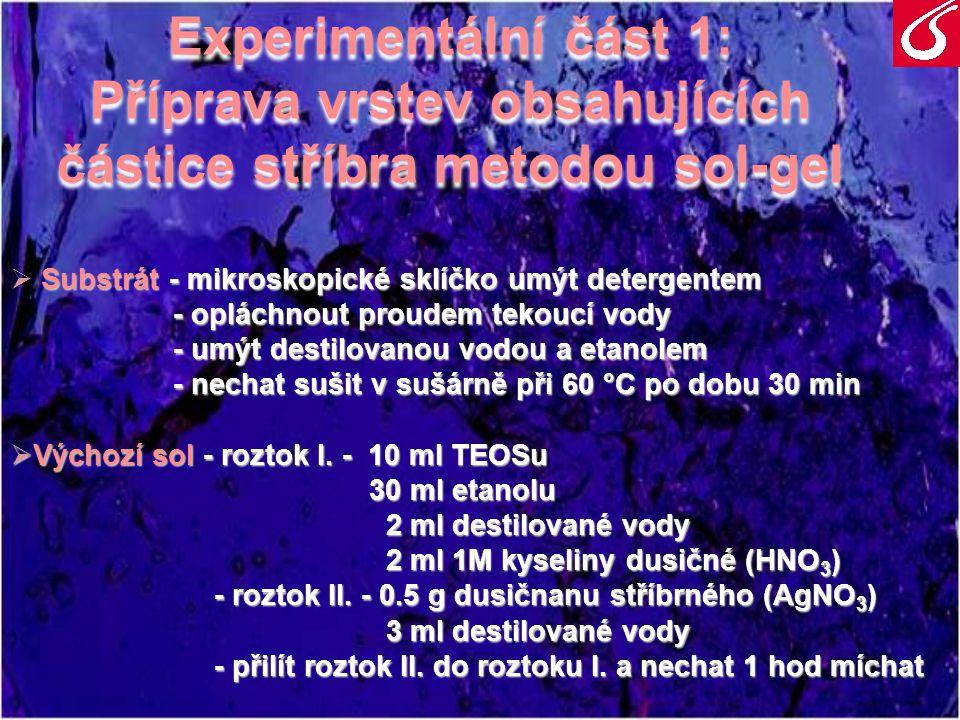 Experimentální část 1: Příprava vrstev obsahujících částice stříbra metodou sol-gel