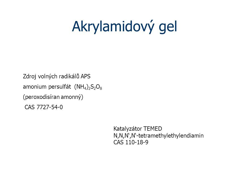 Akrylamidový gel Zdroj volných radikálů APS
