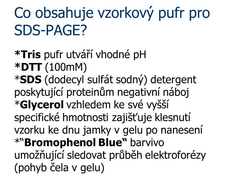 Co obsahuje vzorkový pufr pro SDS-PAGE. Tris pufr utváří vhodné pH