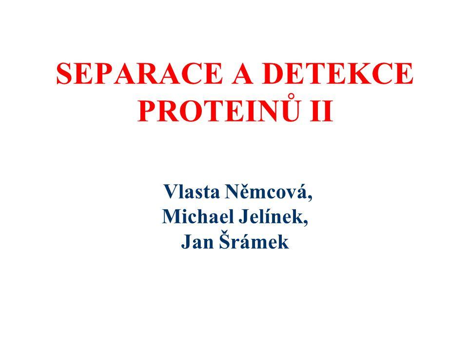 SEPARACE A DETEKCE PROTEINŮ II Vlasta Němcová, Michael Jelínek, Jan Šrámek