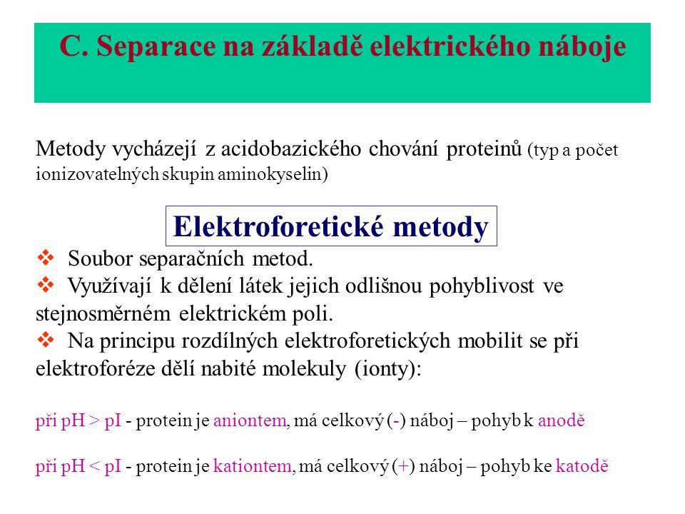 C. Separace na základě elektrického náboje