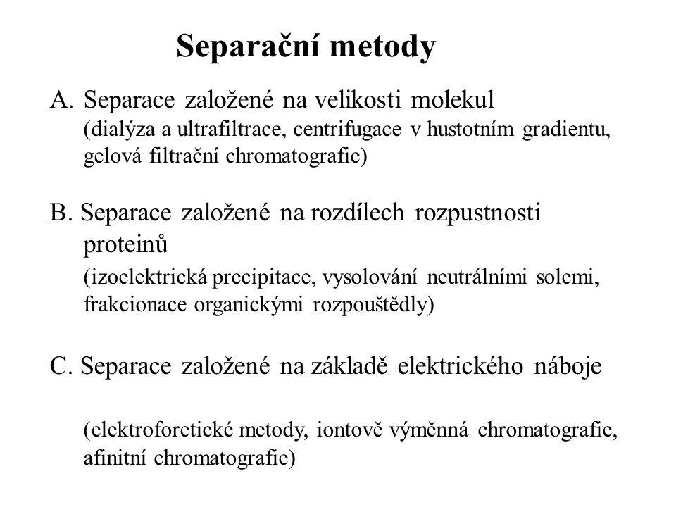 Separační metody Separace založené na velikosti molekul