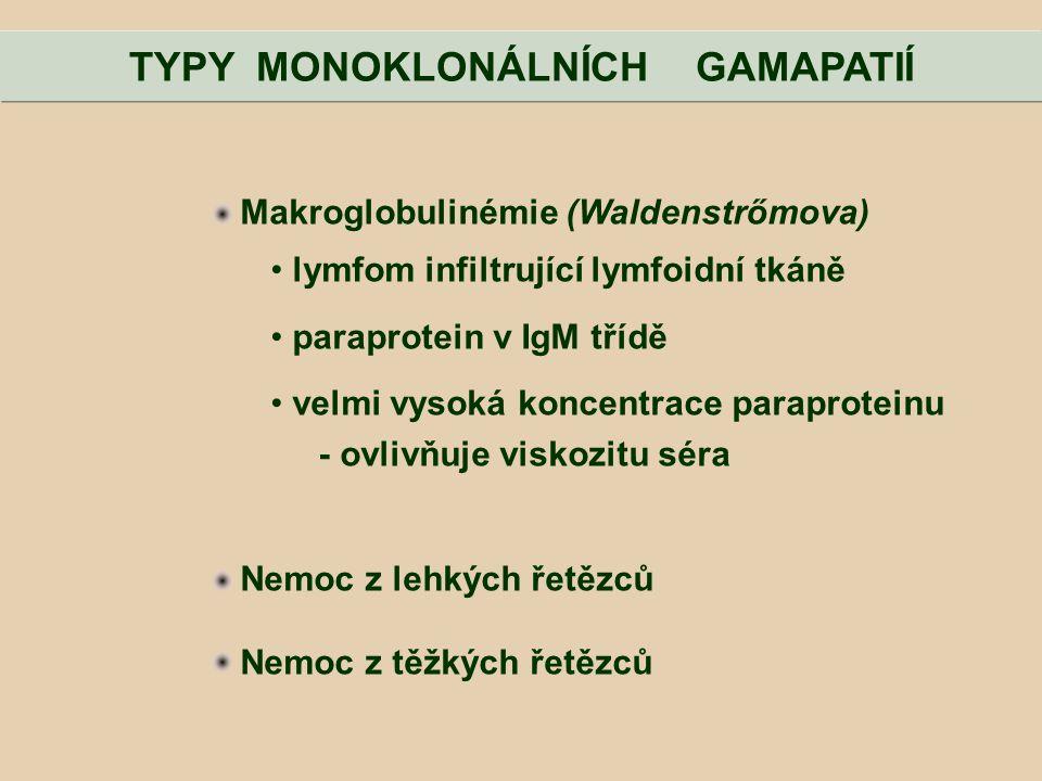 TYPY MONOKLONÁLNÍCH GAMAPATIÍ