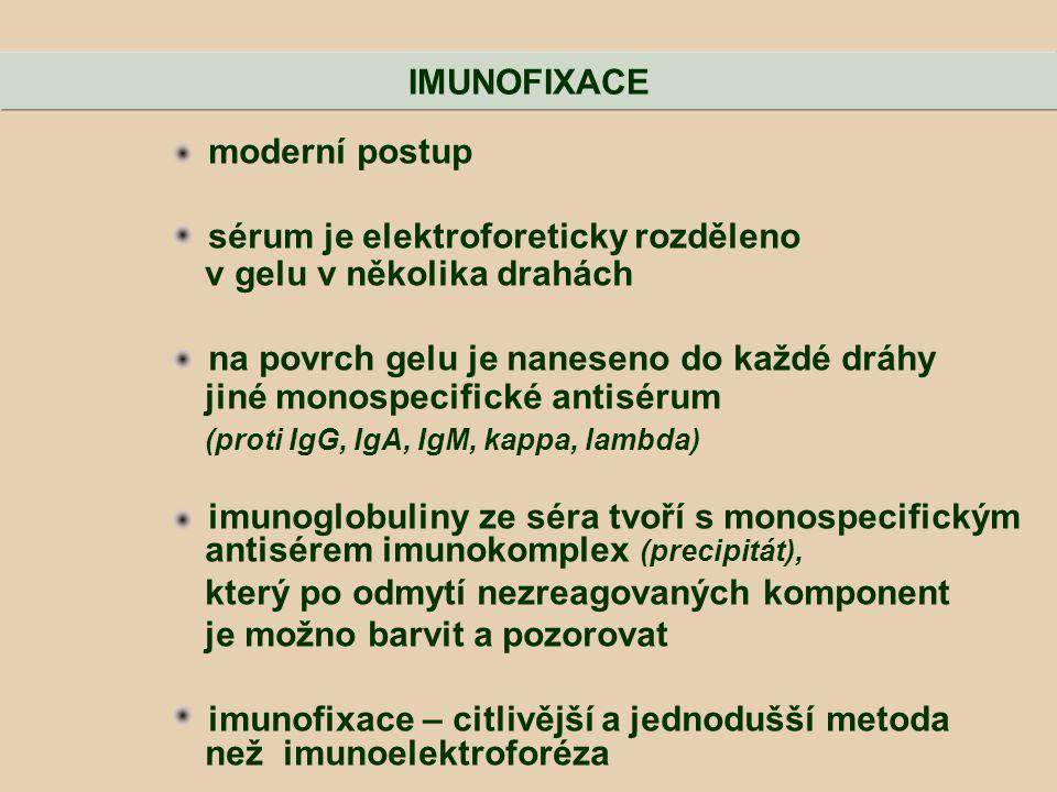 IMUNOFIXACE moderní postup. sérum je elektroforeticky rozděleno. v gelu v několika drahách. na povrch gelu je naneseno do každé dráhy.