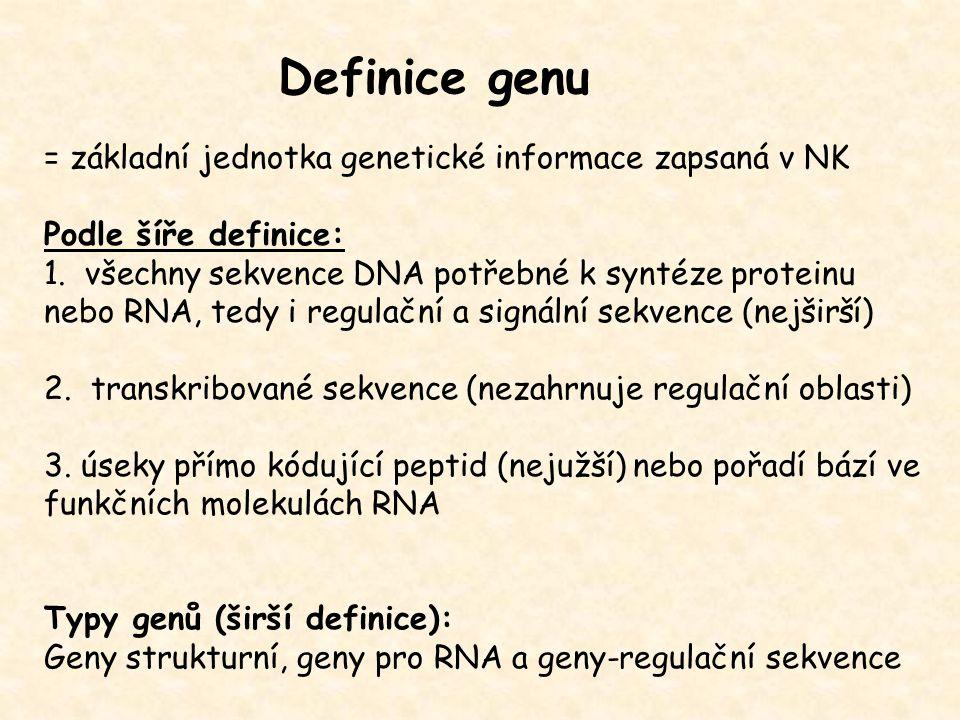 Definice genu = základní jednotka genetické informace zapsaná v NK