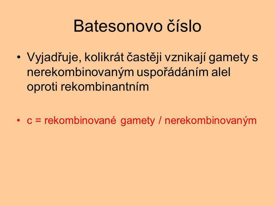 Batesonovo číslo Vyjadřuje, kolikrát častěji vznikají gamety s nerekombinovaným uspořádáním alel oproti rekombinantním.