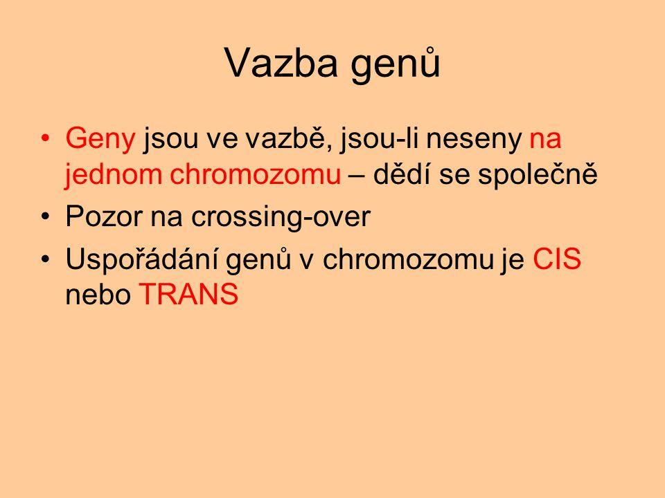 Vazba genů Geny jsou ve vazbě, jsou-li neseny na jednom chromozomu – dědí se společně. Pozor na crossing-over.