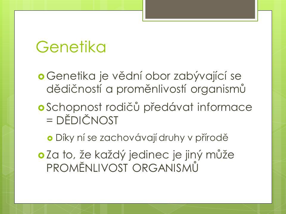 Genetika Genetika je vědní obor zabývající se dědičností a proměnlivostí organismů. Schopnost rodičů předávat informace = DĚDIČNOST.