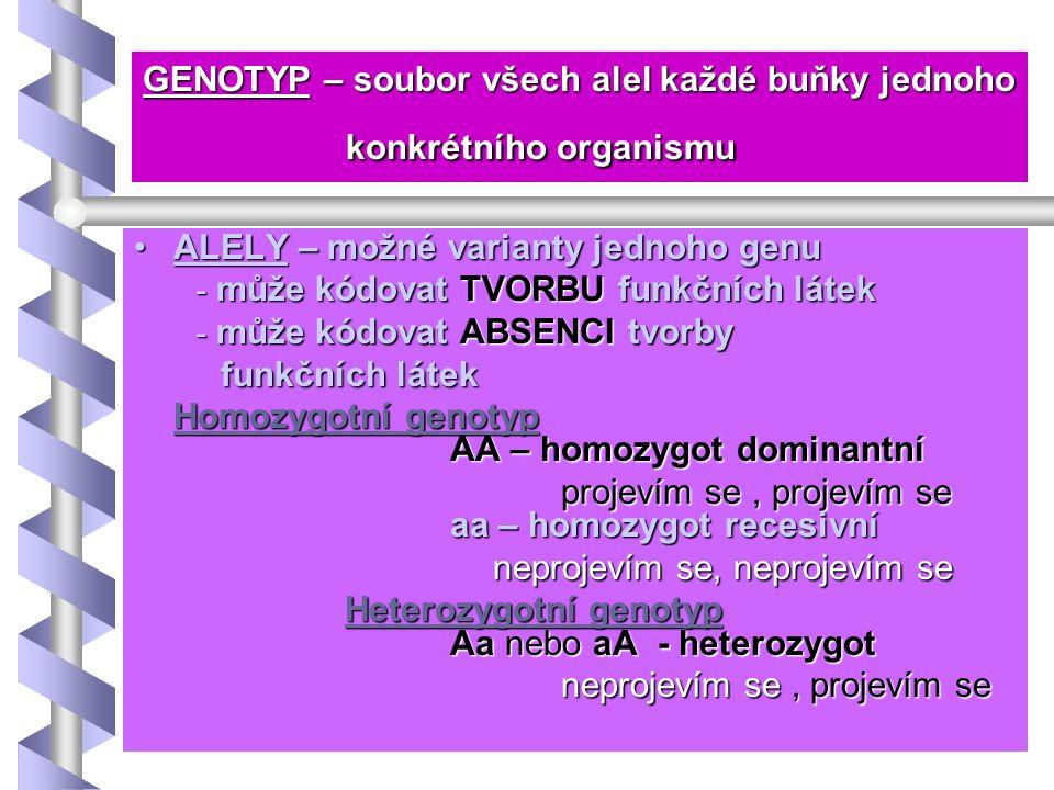 GENOTYP – soubor všech alel každé buňky jednoho konkrétního organismu