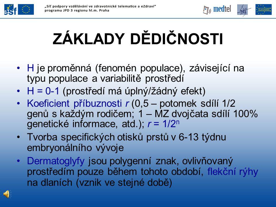 ZÁKLADY DĚDIČNOSTI H je proměnná (fenomén populace), závisející na typu populace a variabilitě prostředí.