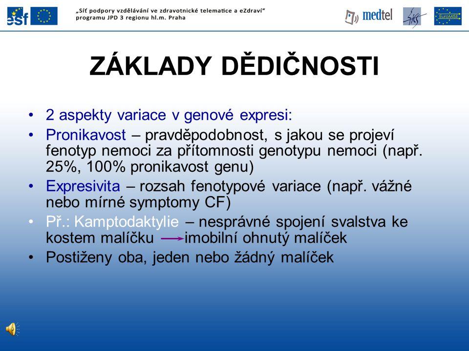 ZÁKLADY DĚDIČNOSTI 2 aspekty variace v genové expresi: