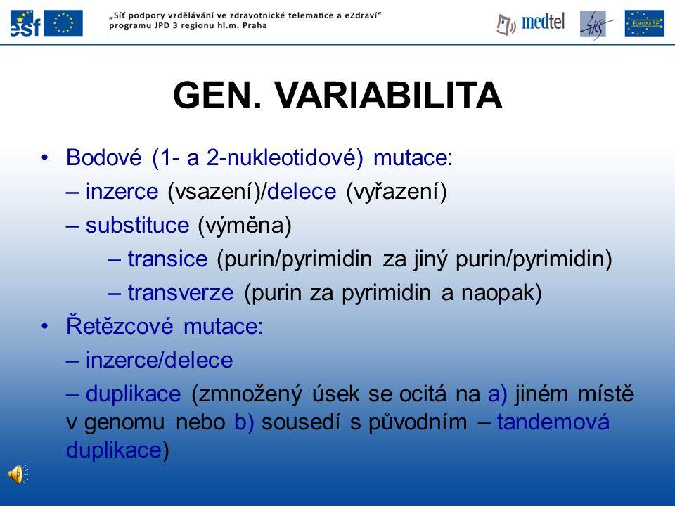 GEN. VARIABILITA Bodové (1- a 2-nukleotidové) mutace: