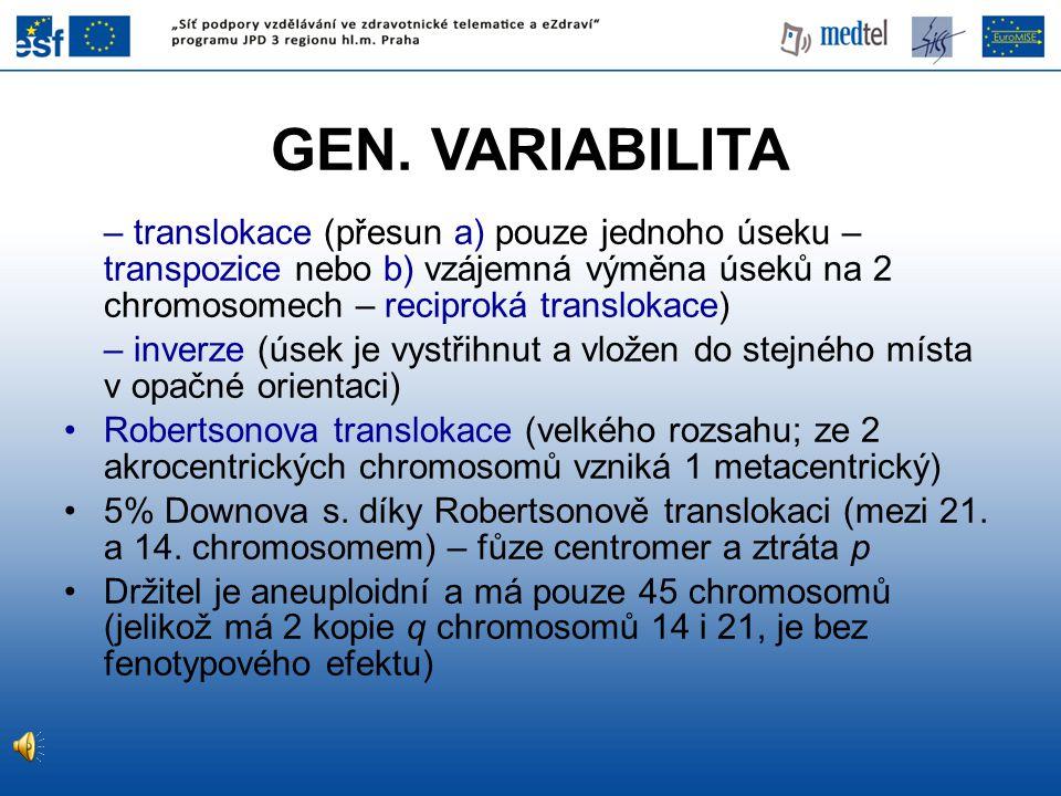 GEN. VARIABILITA – translokace (přesun a) pouze jednoho úseku – transpozice nebo b) vzájemná výměna úseků na 2 chromosomech – reciproká translokace)