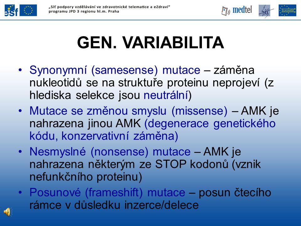 GEN. VARIABILITA Synonymní (samesense) mutace – záměna nukleotidů se na struktuře proteinu neprojeví (z hlediska selekce jsou neutrální)