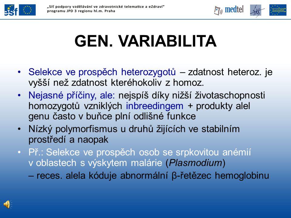 GEN. VARIABILITA Selekce ve prospěch heterozygotů – zdatnost heteroz. je vyšší než zdatnost kteréhokoliv z homoz.