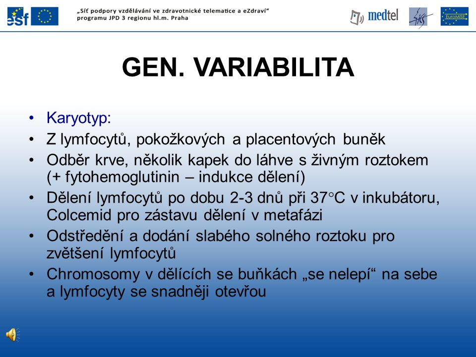 GEN. VARIABILITA Karyotyp: