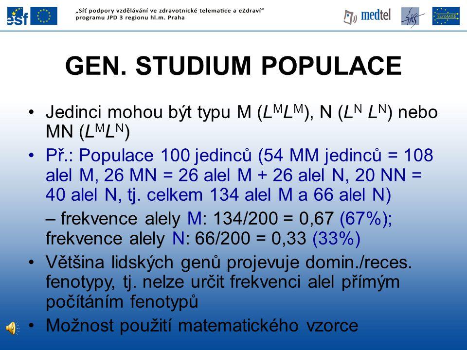 GEN. STUDIUM POPULACE Jedinci mohou být typu M (LMLM), N (LN LN) nebo MN (LMLN)