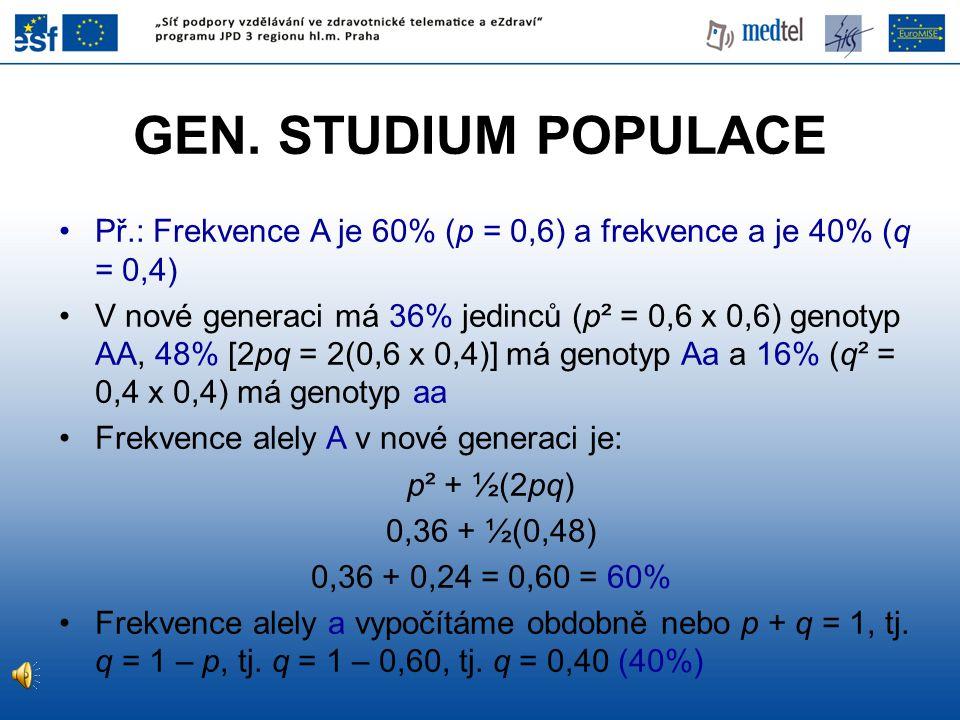 GEN. STUDIUM POPULACE Př.: Frekvence A je 60% (p = 0,6) a frekvence a je 40% (q = 0,4)