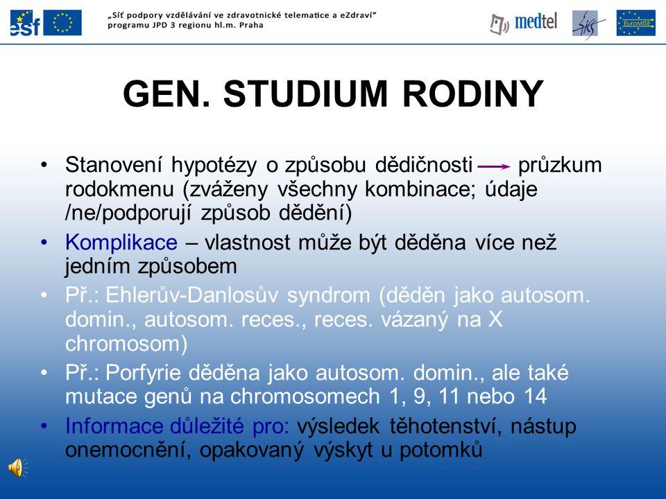 GEN. STUDIUM RODINY Stanovení hypotézy o způsobu dědičnosti průzkum rodokmenu (zváženy všechny kombinace; údaje /ne/podporují způsob dědění)