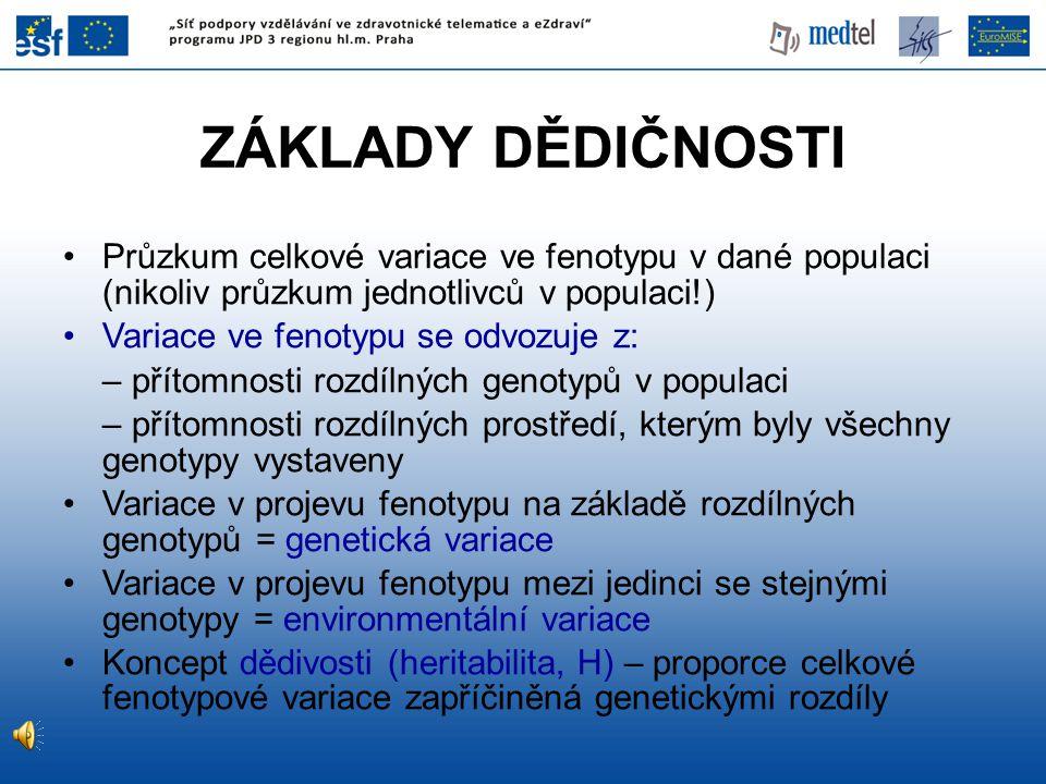 ZÁKLADY DĚDIČNOSTI Průzkum celkové variace ve fenotypu v dané populaci (nikoliv průzkum jednotlivců v populaci!)