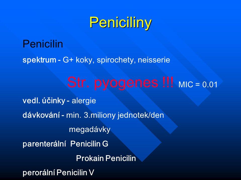 Peniciliny Penicilin spektrum - G+ koky, spirochety, neisserie
