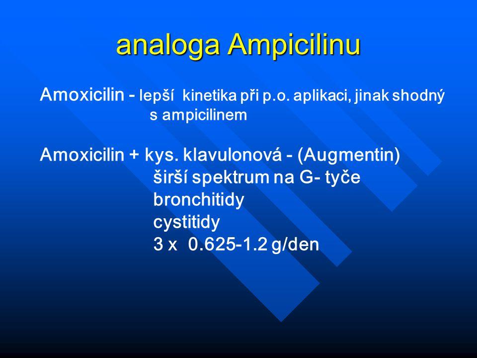 analoga Ampicilinu Amoxicilin - lepší kinetika při p.o. aplikaci, jinak shodný. s ampicilinem. Amoxicilin + kys. klavulonová - (Augmentin)