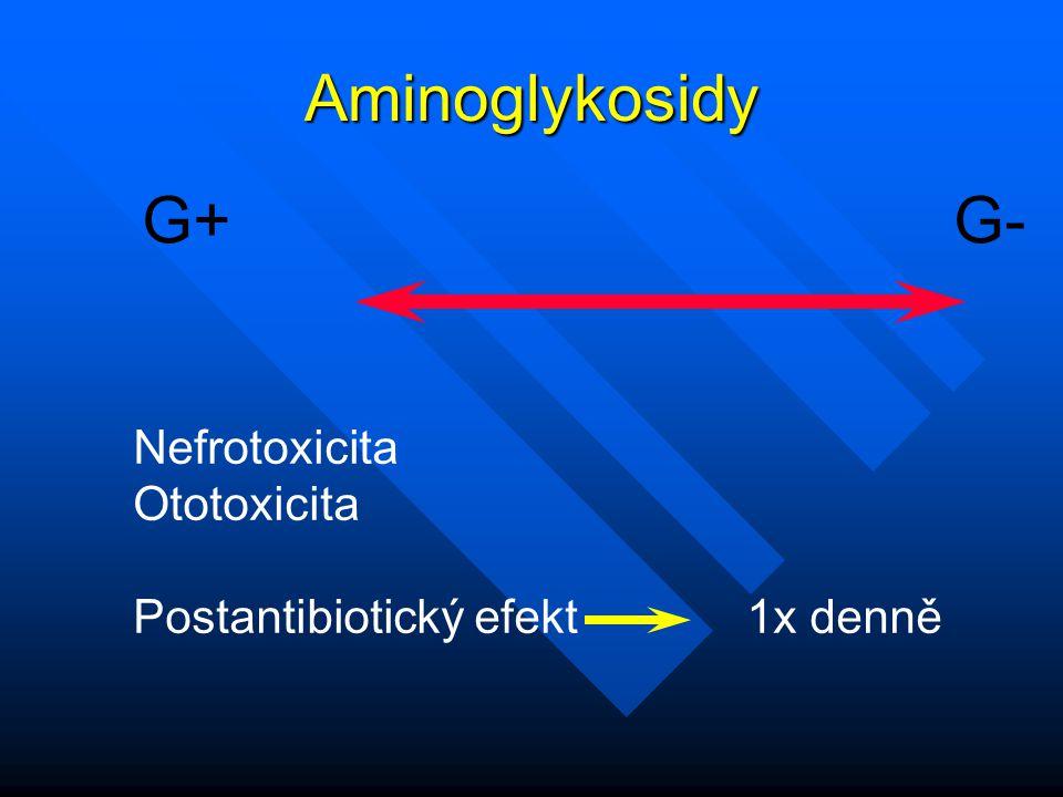 Aminoglykosidy G+ G- Nefrotoxicita Ototoxicita