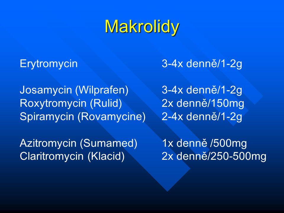 Makrolidy Erytromycin 3-4x denně/1-2g