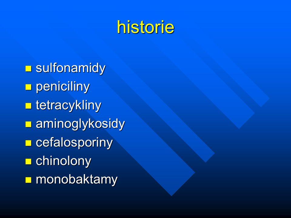 historie sulfonamidy peniciliny tetracykliny aminoglykosidy