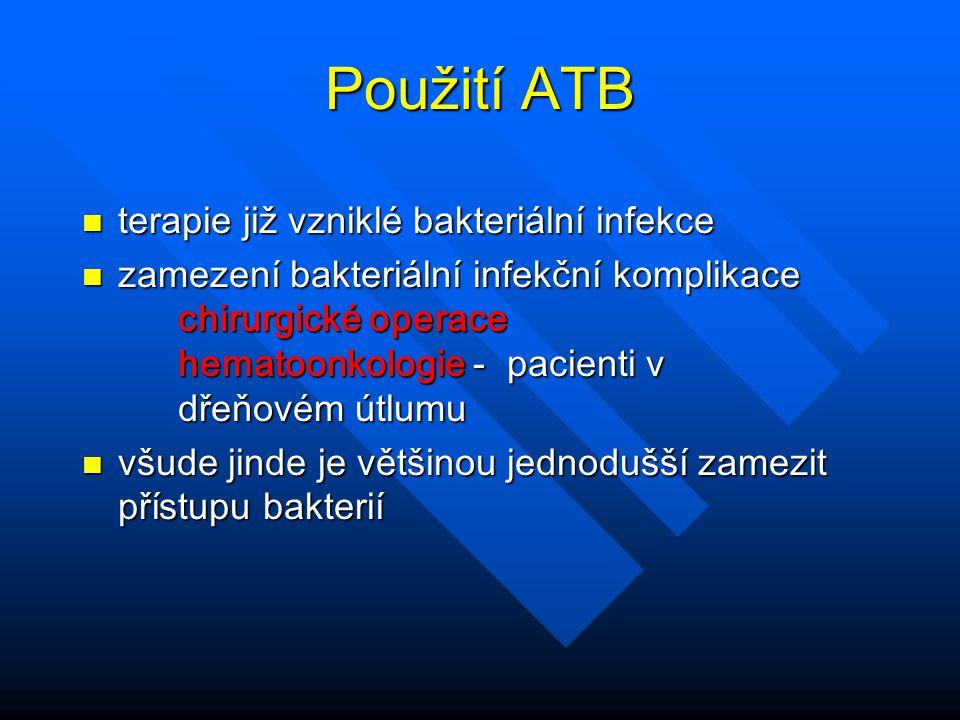 Použití ATB terapie již vzniklé bakteriální infekce