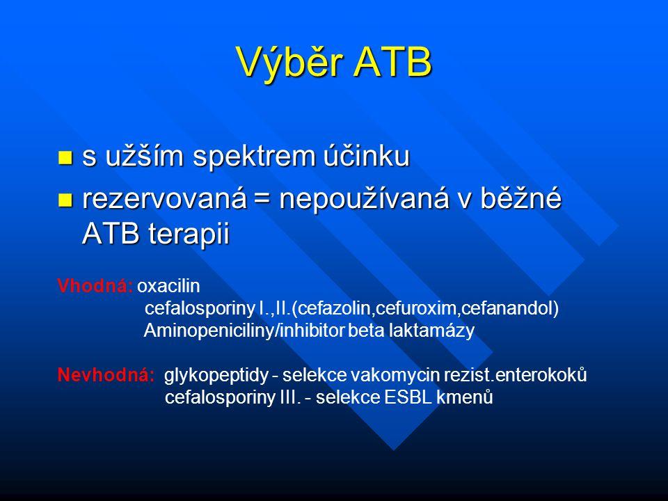 Výběr ATB s užším spektrem účinku