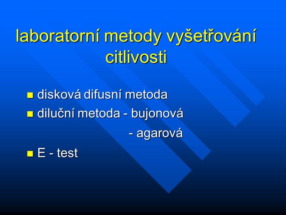 laboratorní metody vyšetřování citlivosti