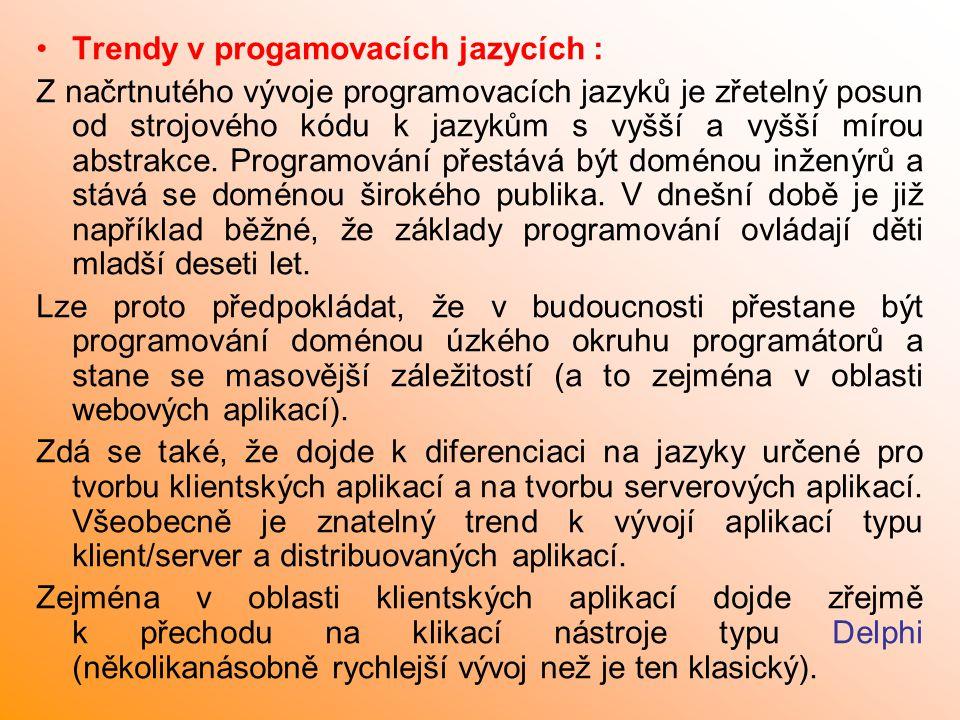 Trendy v progamovacích jazycích :