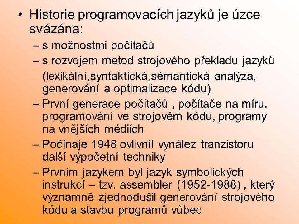 Historie programovacích jazyků je úzce svázána: