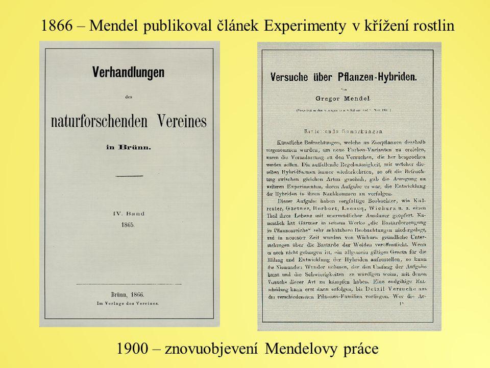 1866 – Mendel publikoval článek Experimenty v křížení rostlin